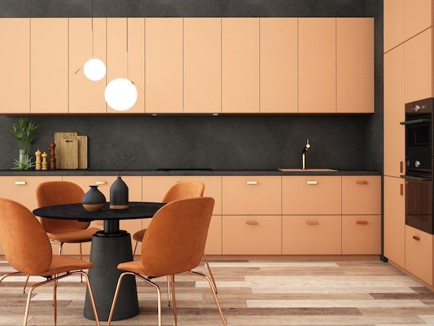 Design de interiores para área de cozinha em estilo moderno Foto Premium
