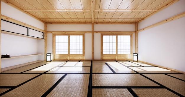 Design de interiores, sala de estar moderna com tatame e porta japonesa tradicional na melhor vista da janela. renderização em 3d Foto Premium