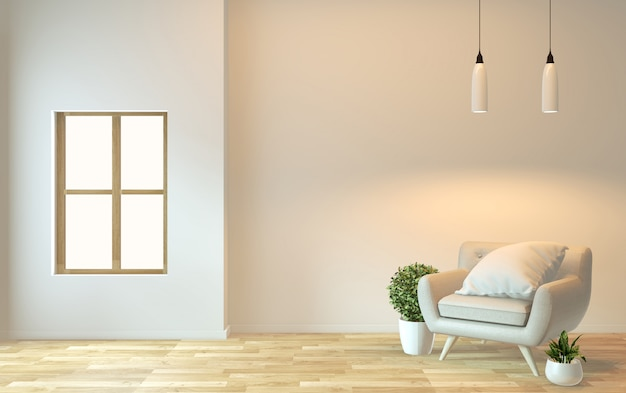 Design de interiores, vida moderna zen com cadeira de braço e renderização decoration.3d Foto Premium