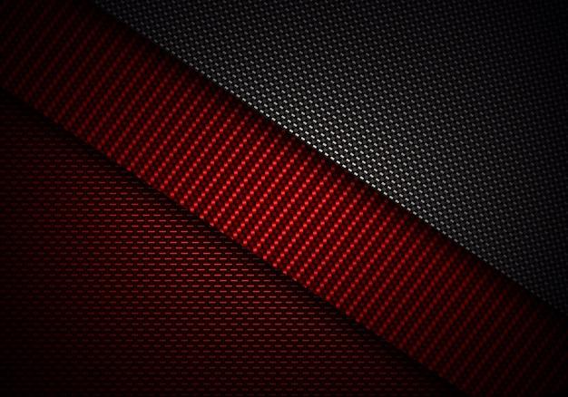 Design de material texturizado de fibra de carbono preto abstrato vermelho Foto Premium
