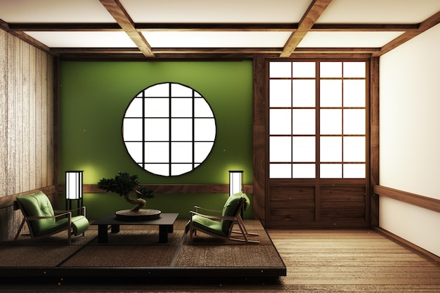 Design de quarto de estilo zen. renderização 3d Foto Premium