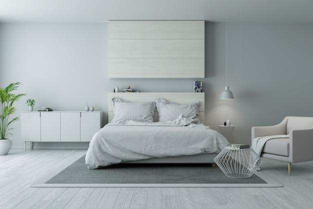 Design de quarto moderno e minimalista, aconchegante conceito de quarto branco e cinza Foto Premium