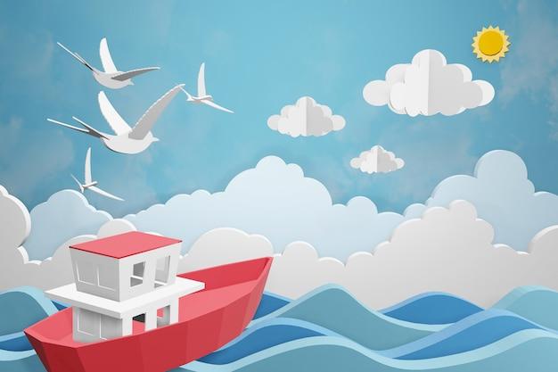 Design de renderização 3d, barco está navegando no mar sob a luz do sol. Foto Premium