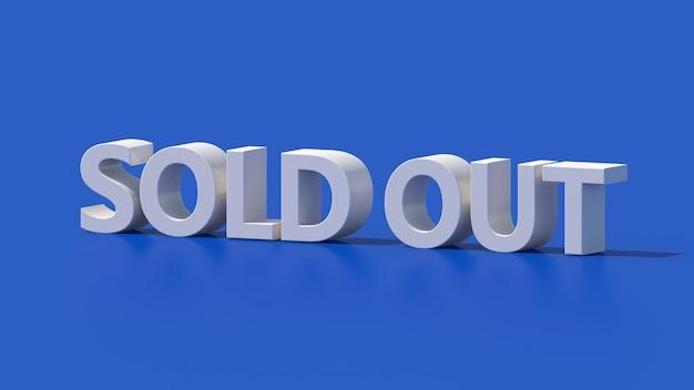 Design de tipografia esgotado branco. fundo azul. ilustração abstrata, renderização 3d. Foto Premium