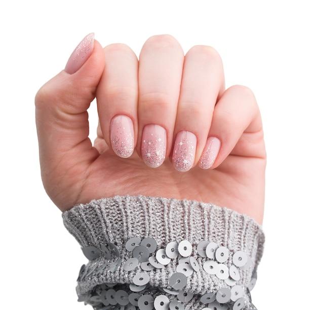 Design de unhas. manicure de natal isolada no branco Foto Premium