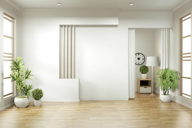 Design minimalista de quarto vazio zen. renderização 3d Foto Premium