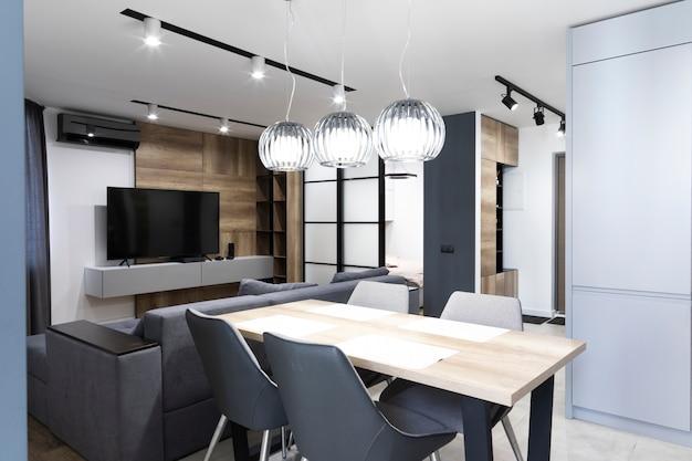 Design minimalista de sala de jantar e sala de estar Foto Premium