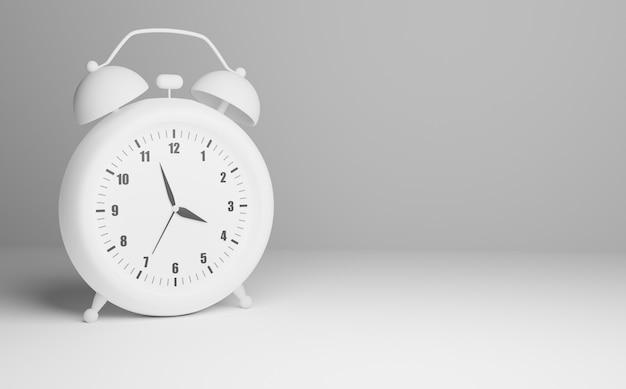 Despertador branco isolado, renderização 3d Foto Premium