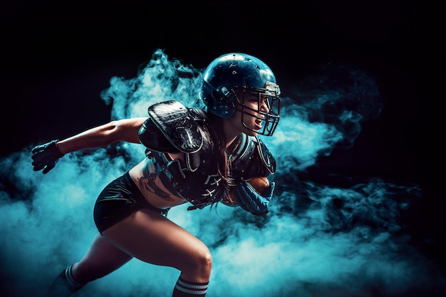Desportista agressiva jogando rugby Foto Premium