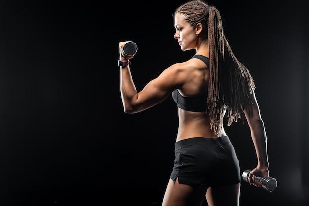 Desportiva Mulher Bonita Fazendo Fitness Exercício Com