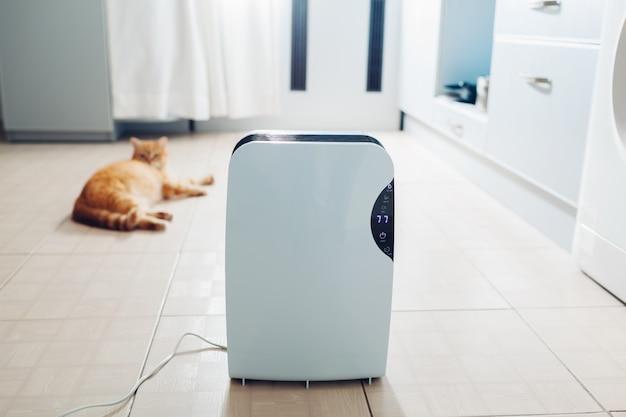 Desumidificador com painel de toque, indicador de umidade Foto Premium