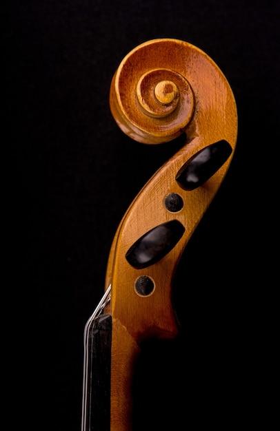 Detalhes da cabeça do violino Foto Premium