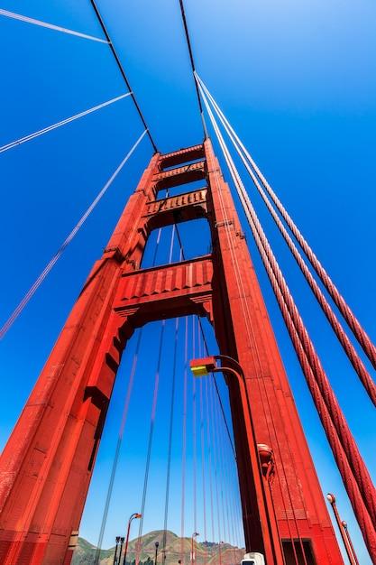 Detalhes da ponte golden gate em san francisco na califórnia Foto Premium