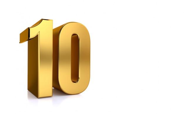 Dez, 3d ilustração número dourado 10 no fundo branco e copie o espaço no lado direito do texto, melhor para aniversário, aniversário, comemoração do ano novo. Foto Premium