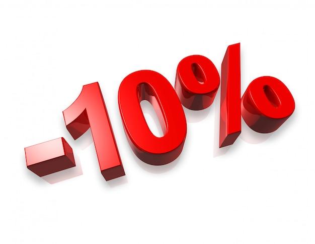 Dez por cento de número 3d isolado no branco Foto Premium
