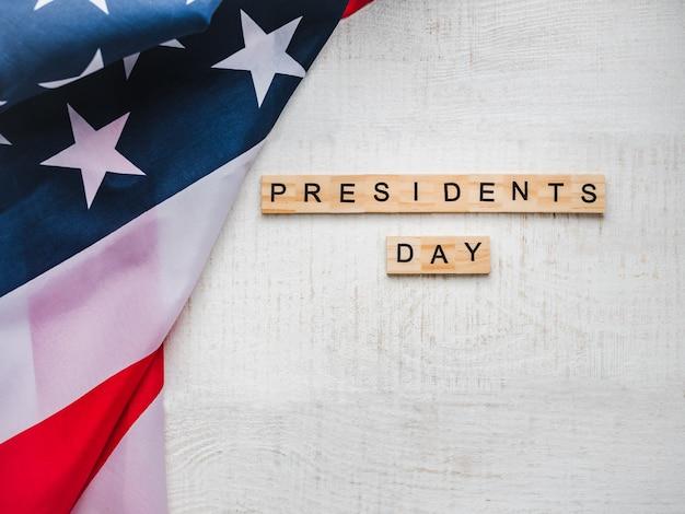 Dia do presidente. lindo cartão de saudação. vista do topo Foto Premium