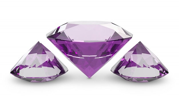 Diamondsl três cor-de-rosa de um fundo branco. 3d render Foto Premium