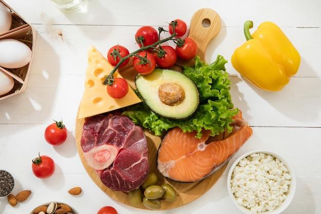 Dieta cetogênica com baixo teor de carboidratos - seleção de alimentos na parede branca Foto gratuita