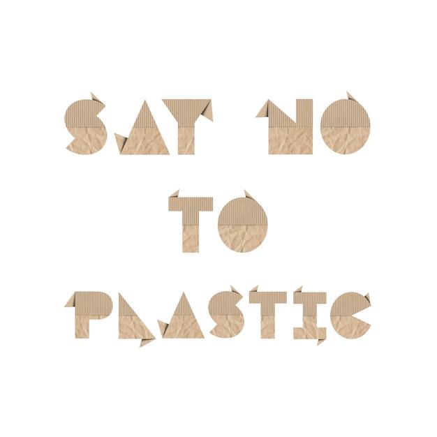Diga não ao plástico com papel origami marrom Foto Premium