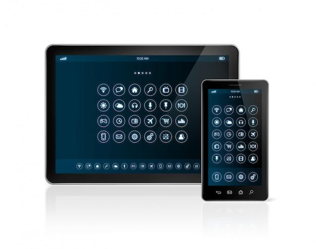 Digital tablet pc e smartphone com interface de ícones de aplicativos Foto Premium