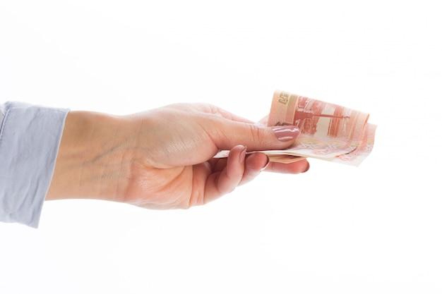 Dinheiro, isolado, branco Foto Premium