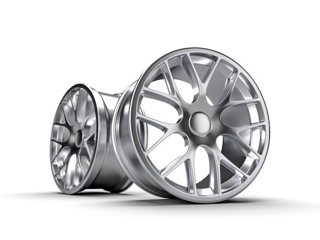 Discos de aço para uma ilustração da rendição do carro 3d. Foto Premium