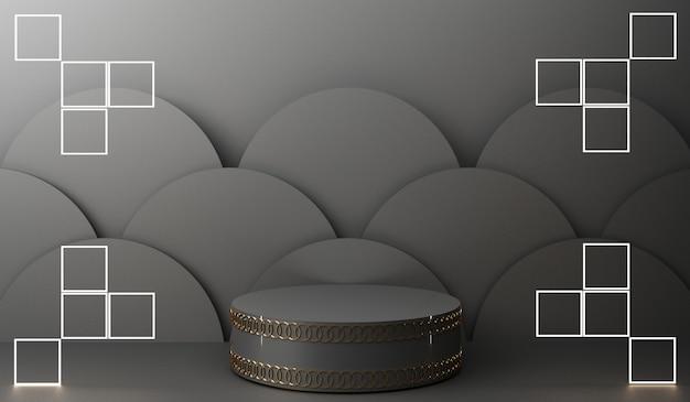 Display de pódio dourado em fundo abstrato preto com apresentação de produto em forma geométrica em porcelana mínima Foto Premium