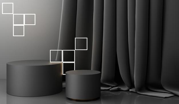 Display de pódio dourado em fundo abstrato preto com forma geométrica e apresentação minimal de produto de cortina na china Foto Premium
