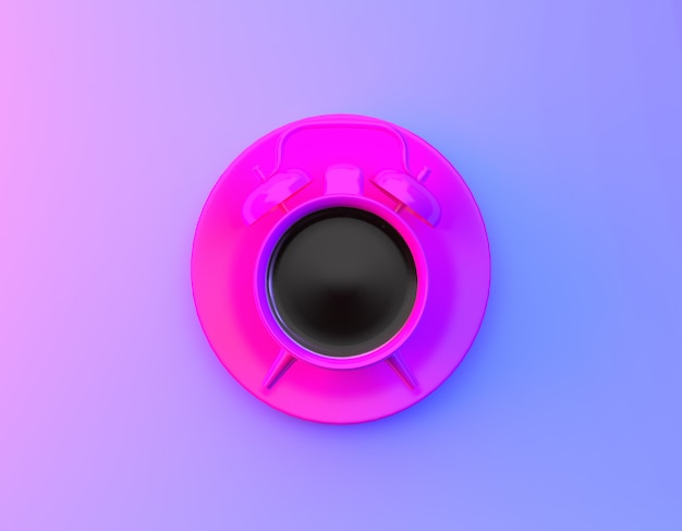 Disposição criativa do despertador do copo de café no fundo holográfico roxo e azul do inclinação corajoso vibrante das cores. conceito de tempo mínimo de café. Foto Premium