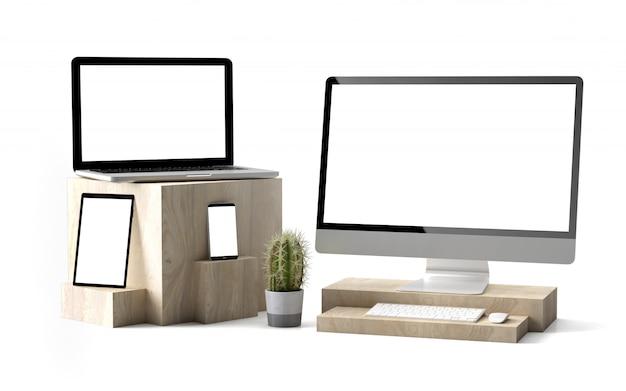 Dispositivos de cubos de madeira isolados Foto Premium