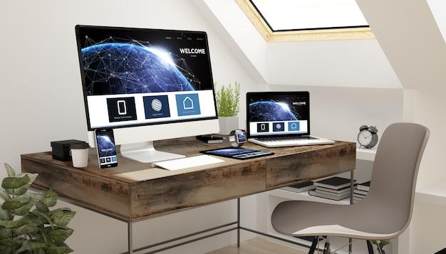 Dispositivos de estudo de sótão com site Foto Premium