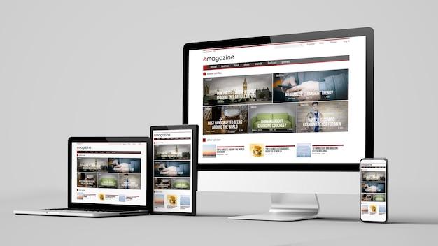 Dispositivos de site de revista eletrônica de design responsivo isolados em uma maquete de renderização 3d de fundo branco Foto Premium