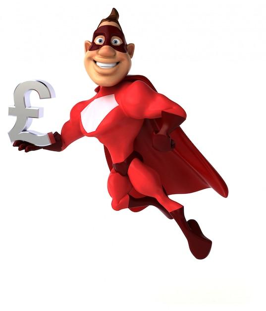 Divertido personagem de super-herói isolado - ilustração 3d Foto Premium