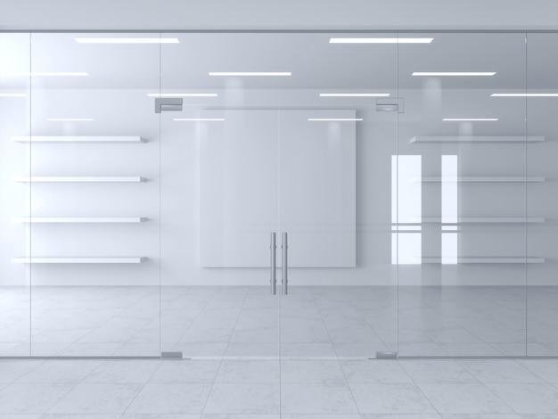 Divisória de vidro e portas no escritório ou na loja. Foto Premium