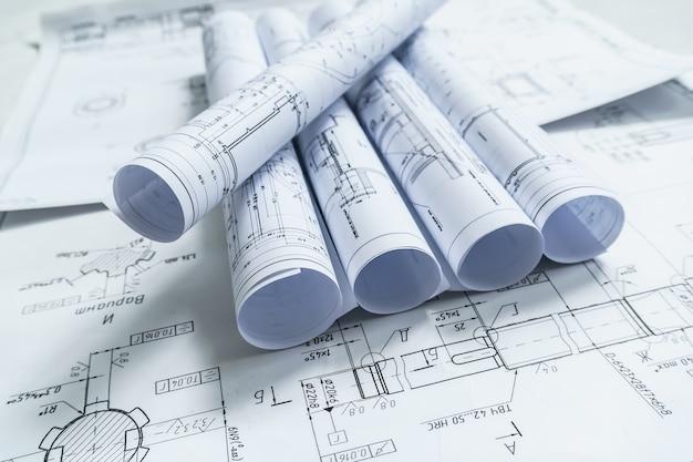 Documentos de projeto arquitetônico Foto Premium