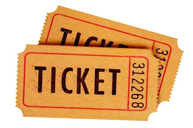 Dois bilhetes de cinema antigos isolados Foto gratuita
