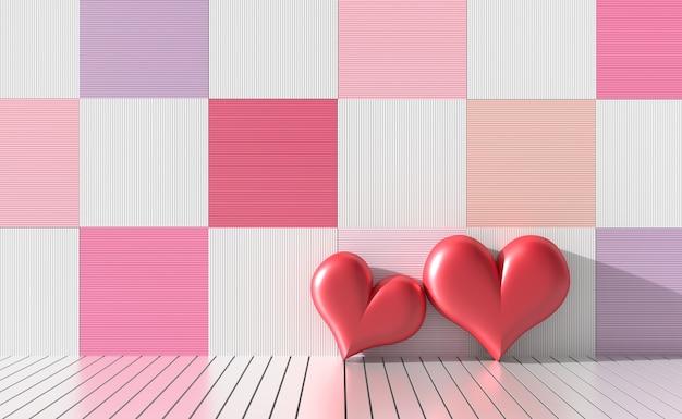 Dois coração vermelho em cores brilhantes e paredes de madeira de variedade. amor no dia dos namorados. 3d render Foto Premium