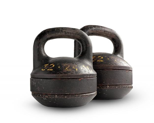 Dois pesos dobráveis do ferro que pesam, isolados no fundo branco. Foto Premium