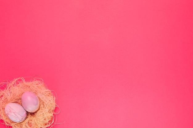 Dois rosa pintado ovos de páscoa no ninho no canto do pano de fundo-de-rosa Foto gratuita