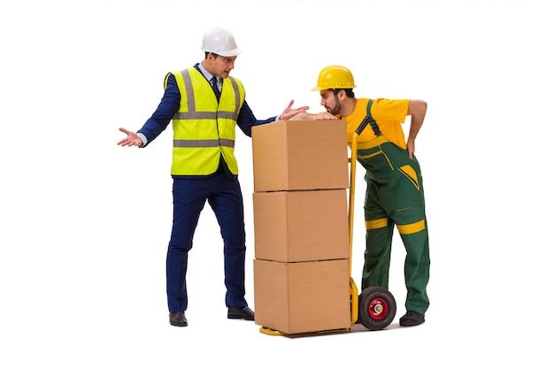 Dois trabalhadores isolados na parede branca Foto Premium