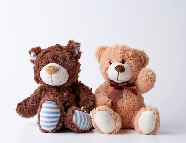 Dois ursos de pelúcia marrons sentam-se em uma superfície branca Foto Premium