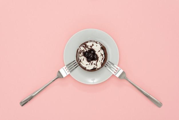 Donut com garfo Foto Premium