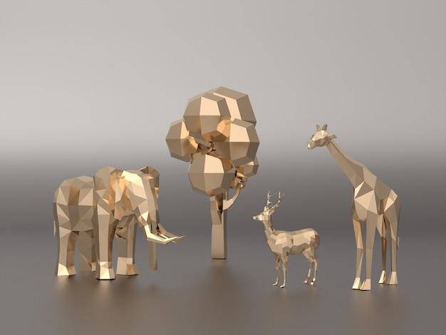 Dourado 3d modelo baixo polígono de elefantes, veados, girafa. Foto Premium