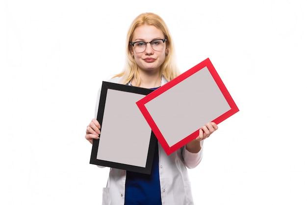 Doutor mulher, com, molduras Foto Premium