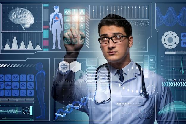 Doutor no conceito médico futurista, pressionando o botão Foto Premium