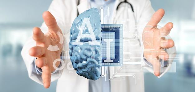 Doutor, segurando, inteligência artificial, ícone, com, metade, cérebro, e, metade, circuito Foto Premium