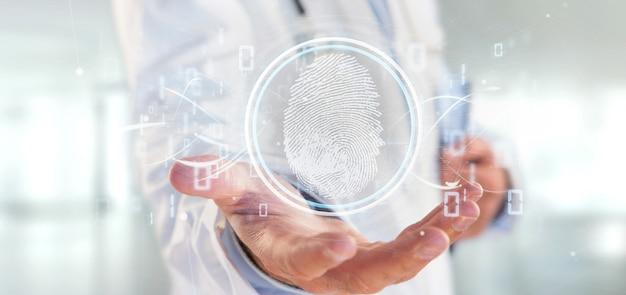 Doutor, segurando, um, impressão digital digital, identificação, e, código binário, 3d, fazendo Foto Premium