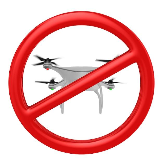 Drone de voos de proibição. renderização 3d isolada Foto Premium