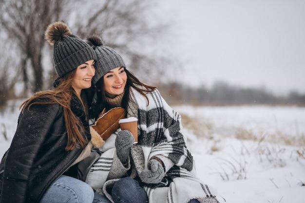 Duas garotas caminhando juntos em um parque de inverno Foto gratuita