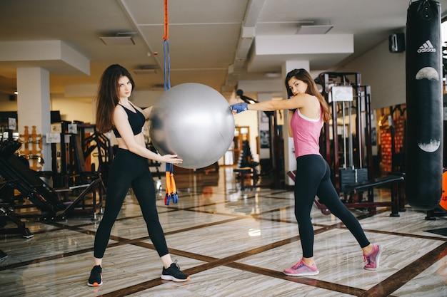 Duas lindas garotas atléticas estão engajadas no ginásio Foto gratuita
